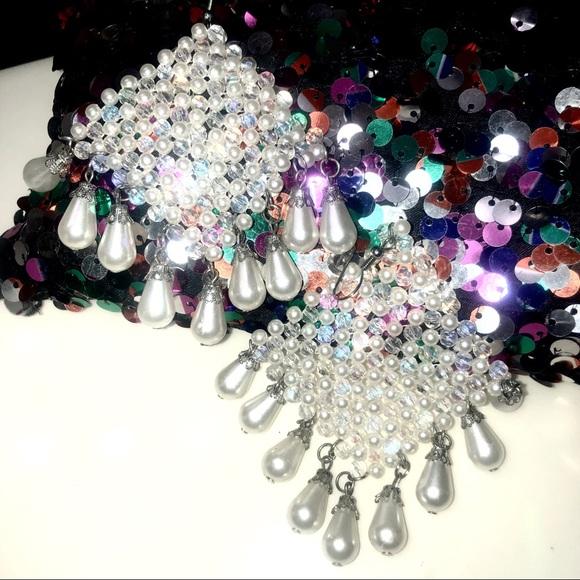 boutique Jewelry - Diamond Shaped Faux Pear Statement Earrings